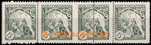 49796 -  Pof.27B, horizontal strip of 4, by/on/at 2 stamp. strong sh
