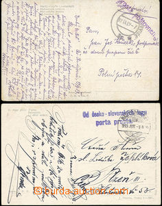 49812 - 1919 2 pcs of Ppc, 1x sent from Slovakia with 2-lines cancel