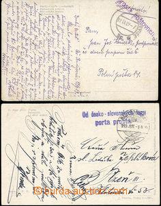 49812 - 1919 2ks pohlednic, 1x odesláno ze Slovenska s 2-řádkový