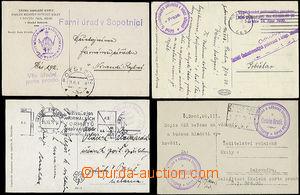 49820 - 1923-34 4x zásilka osvobozená od poštovného v záležito