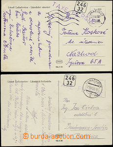 49826 - 1953 2 postcard sent after monetary reform from Luhačovice,