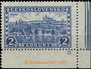 49828 - 1926 Pof.225, Praha, rohová zn. s okraji a DČ, pravá desk
