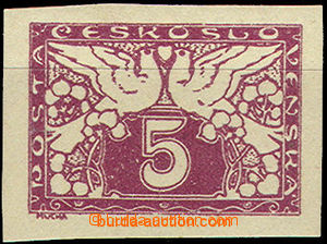 49832 - 1919 trial print 5h in violet color on stamp paper with gum,