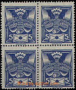 49866 - 1920 Pof.143A as blk-of-4, on/for transparent, parchment pap