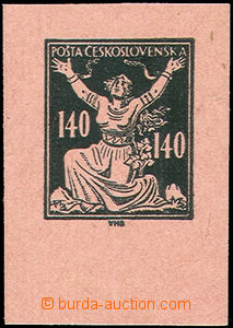 49880 - 1920 trial print 140h, black-green print on pink paper, for