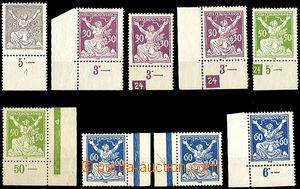 49881 - 1920 Pof.152, 3x 153, 2x 156, 3x 157, sestava 9ks zn. s desk