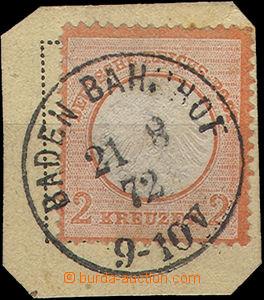 49890 - 1872 Mi.8 Orlice, na malém výstřižku, celé DR Baden Bah
