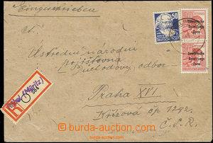 49910 - 1949 SOVIET ZONE  Reg letter addressed to to Czechoslovakia,