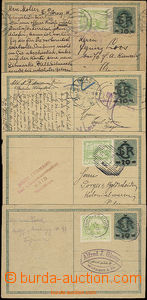 49982 - 1919 postal stationary - postcard 1, assembly of 4 pieces of