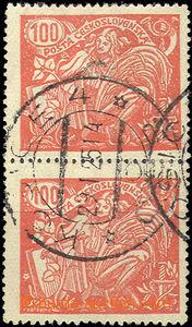 50003 - 1923 Pof.173B, svislá 2-páska se ST II.+III., DR Košice 4