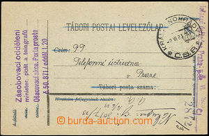 50045 - 1923 Hungarian card for field post used as off. printed matt