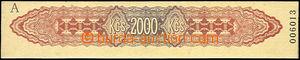 50077 - 1950 postage stmp strip values 2000Kčs to pay machine Franc