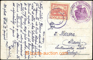 50080 - 1919 ITALY  postcard 35. regiment with violet round FP cache