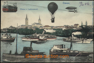 50128 - 1906 ČÁSLAV - collage town in future, Us, nice, only light