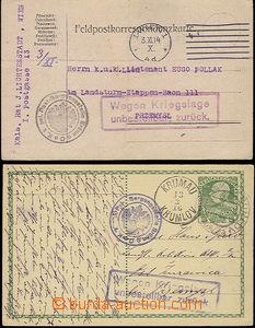 50132 - 1914-16 2ks lístků adresovaných do Přemyšle a vrácený