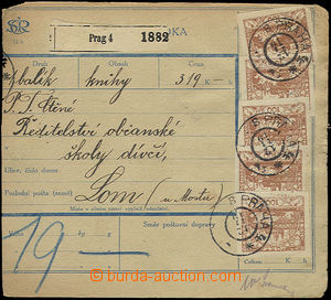 50149 - 1919 parcel card without posting cut, franked with. Hradcany