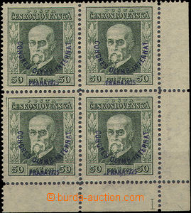 50162 - 1925 Pof.180 P8 in a 4 block with margins and a plate number