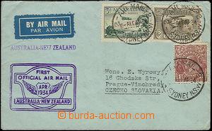 50168 - 1934 AUSTRALIA, airmail letter sent to Czechoslovakia, trans