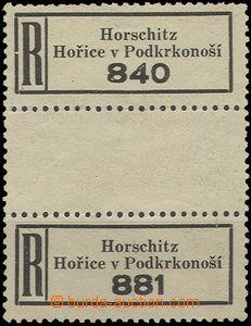 50178 - 1940 BOHEMIA-MORAVIA,  vert. Pr R labels Horschitz/ Hořice