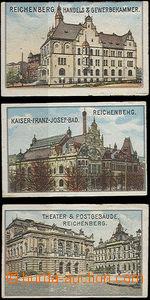 50182 - 1900? sestava 3ks různých barevných litografických nále