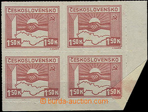 50246 - 1945 Pof.353, Kosice 1.50K, corner 4block with small fold ov