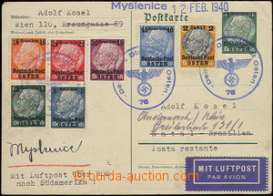 50253 - 1940 GENERALGOUVERNEMENT view card with overprint 12gr/6pf H