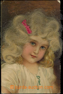 50292 - 1910 child with skutečnými hair, lithography, embossed; Un