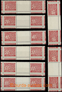 50326 - 1939 Pof.DL1-14M  postage due, two-stamp cut gutters, bottom