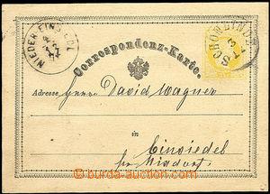 50400 - 1874 dopisnice 2Kr žluťásek, DR Schönlinde 3/12, přích