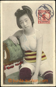 50404 - 1910 CHINA,  sitting girl in negligee; Us, franked in pictur