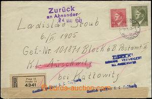 50434 - 1943 concentration camp AUSCHWITZ, registered letter adresse