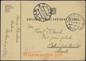 50475 - 1938 lístek PP odeslaný ze Svalavy do Chustu na PP 24, vráce