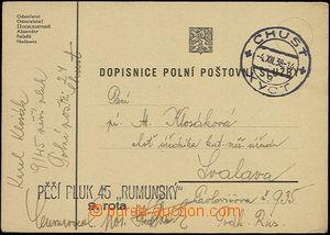 50477 - 1938 lístek PP odeslaný z Chustu do Svalavy, DR Chust/ 4.XII