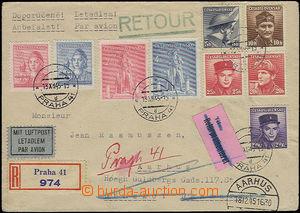 50508 - 1945 R+Let. dopis do Dánska s pestrou frankaturou 9ks výpl