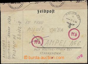 50509 - 1944 skládaný dopis s razítkem německé FP s orlicí, 21
