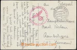 50510 - 1941 pohlednice přepravená DDP BuM Pilsen, rozlišovací p