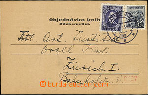 50539 - 1943 order note sent to Switzerland paid by Zsf.33, 49, dail