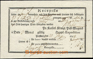50549 - 1799 printed receiving receipt, with the Pressburg post offi