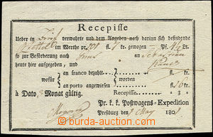 50550 - 1801 recepis tištěný, s názvem pošty Pressburg, bezvadný