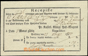 50552 - 1800 receipt printed, with post off. Pressburg, very fine