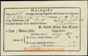 50552 - 1800 recepis tištěný, s názvem pošty Pressburg, bezvadn
