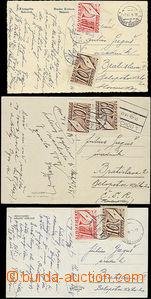 50591 - 1945 sestava 3ks nevyfrankovaných pohlednic adresovaných n