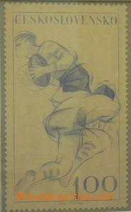 50623 - 1961 STRNAD I.: refused stamp design issue Sport values 1Kč