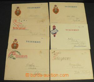 50669 - 1942 assembly of 7 pieces of decorative telegrams in origina