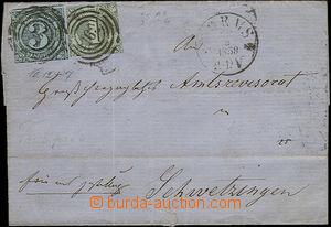 50683 - 1858 skládaný přebal dopisu vyfr. zn. Mi.7+12, kruhové r