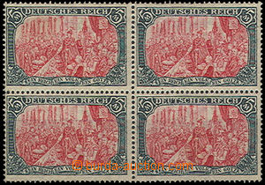 50711 - 1905 Mi.97AI in a 4block, only 1x stamp with a slight sign,