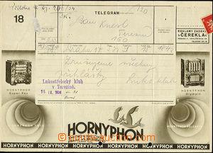 50762 - 1934 used advertising telegram form 769 No.18 (III-1934), on