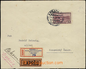 50808 - 1929 Reg and Express letter with 4CZK Tatras with special po