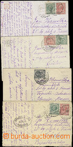 50816 - 1920 FRANCE  comp. 4 pcs of Ppc sent from Italy to member of