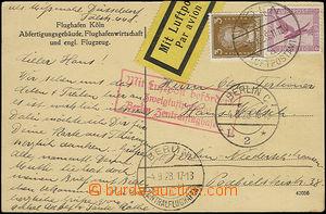 50862 - 1928 pohlednice letiště v Köln, zaslaná letecky do Berl�